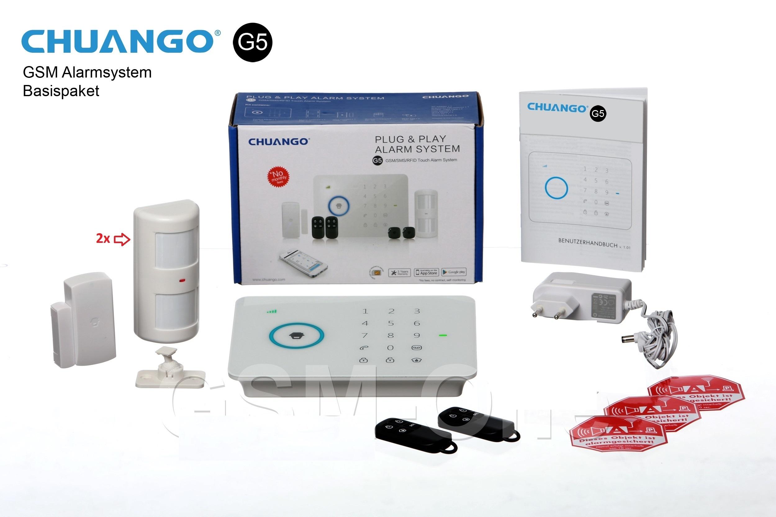GSM Alarmanlage CHUANGO G5-Bulk (Neuware, ohne Karton), Basispaket inkl. App
