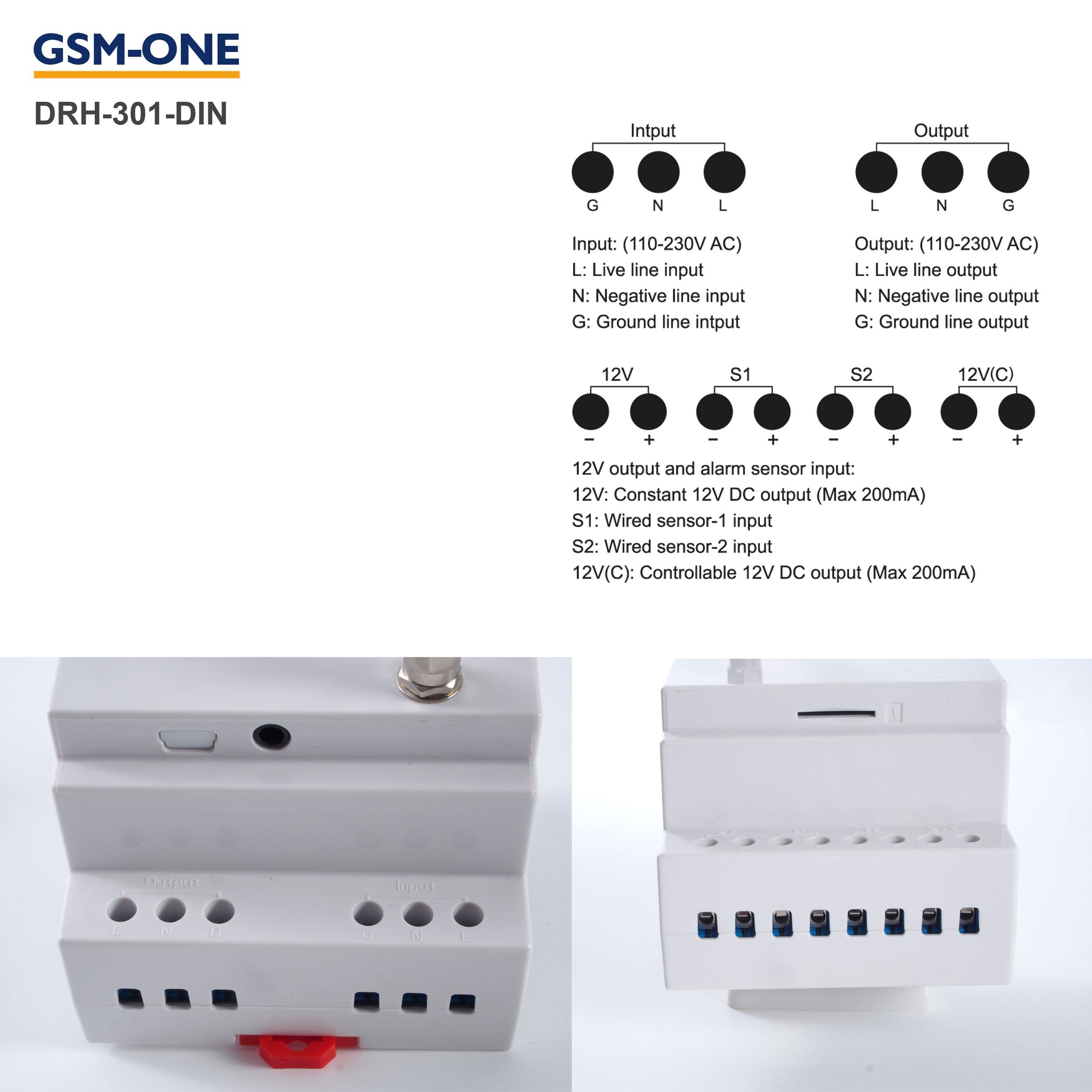 DRH-301-DIN GSM SMS Fernschalter und Temperaturwächter DinRail + Temperaturfühler TS-02