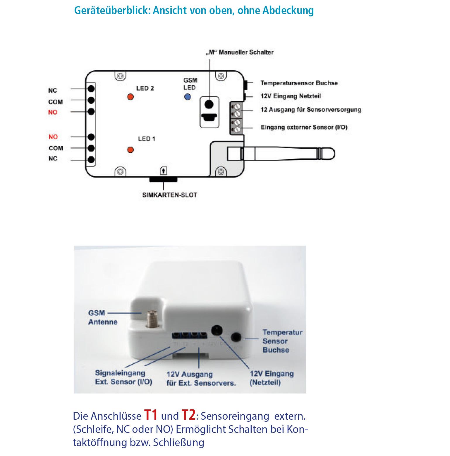 GSM Toröffner, Kostenlos Schalten durch Anruf & SMS, Stromausfallwarner Temperaturschalter