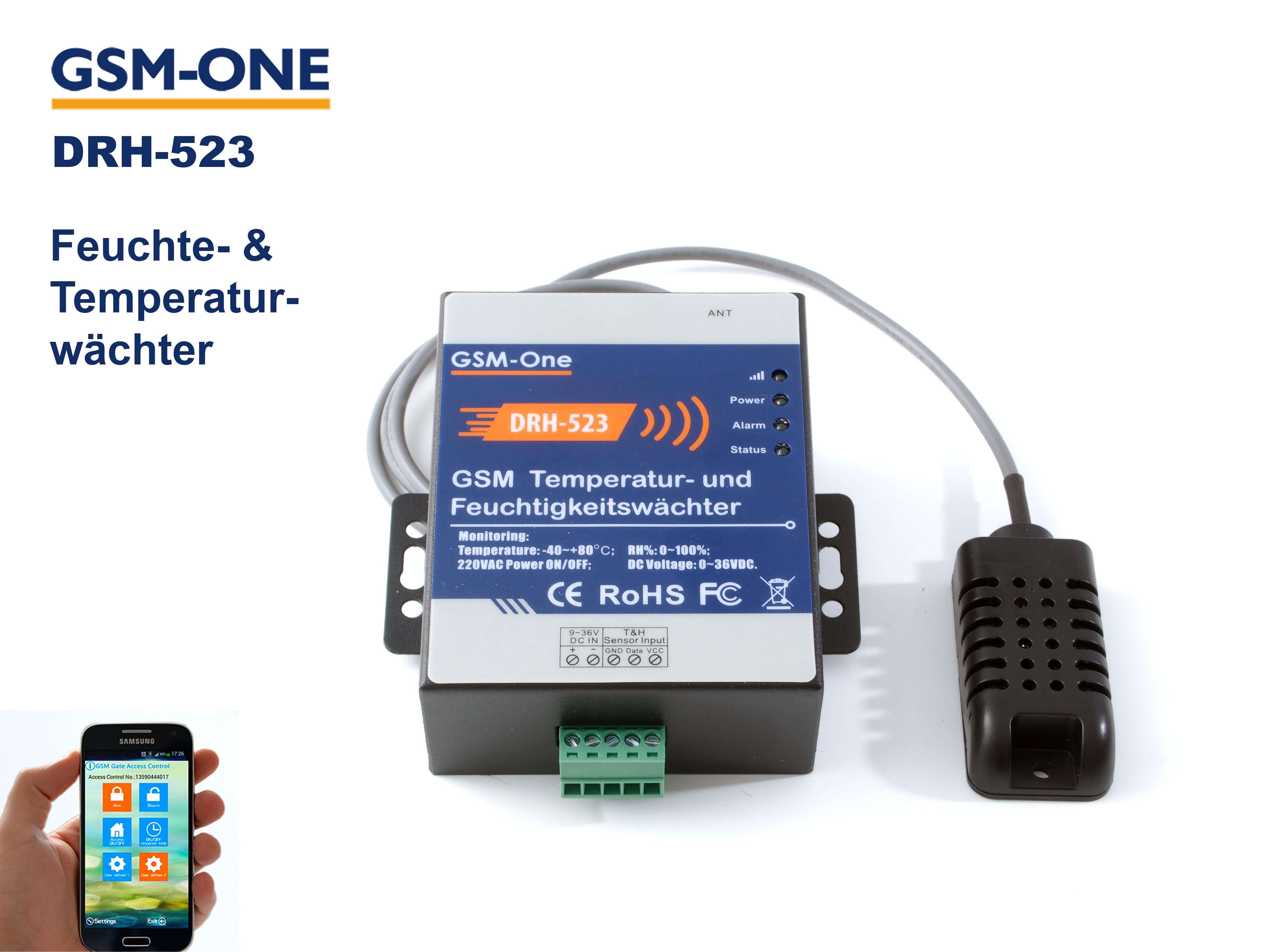 Temperatur- und Feuchtewächter DRH-523 Komplettpaket
