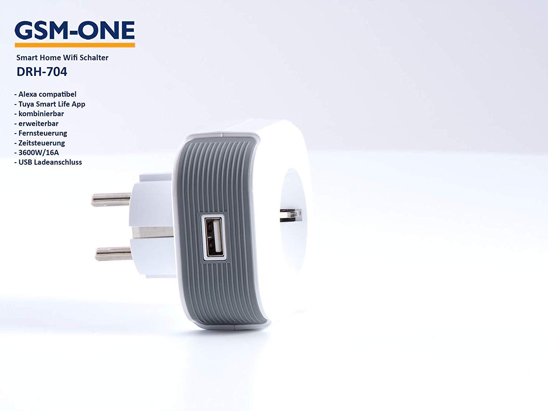 WiFi Steckdose DRH-704, 3600Watt/16A, inkl. USB Ladeanschluss, Kostenlose App, erweiterbar