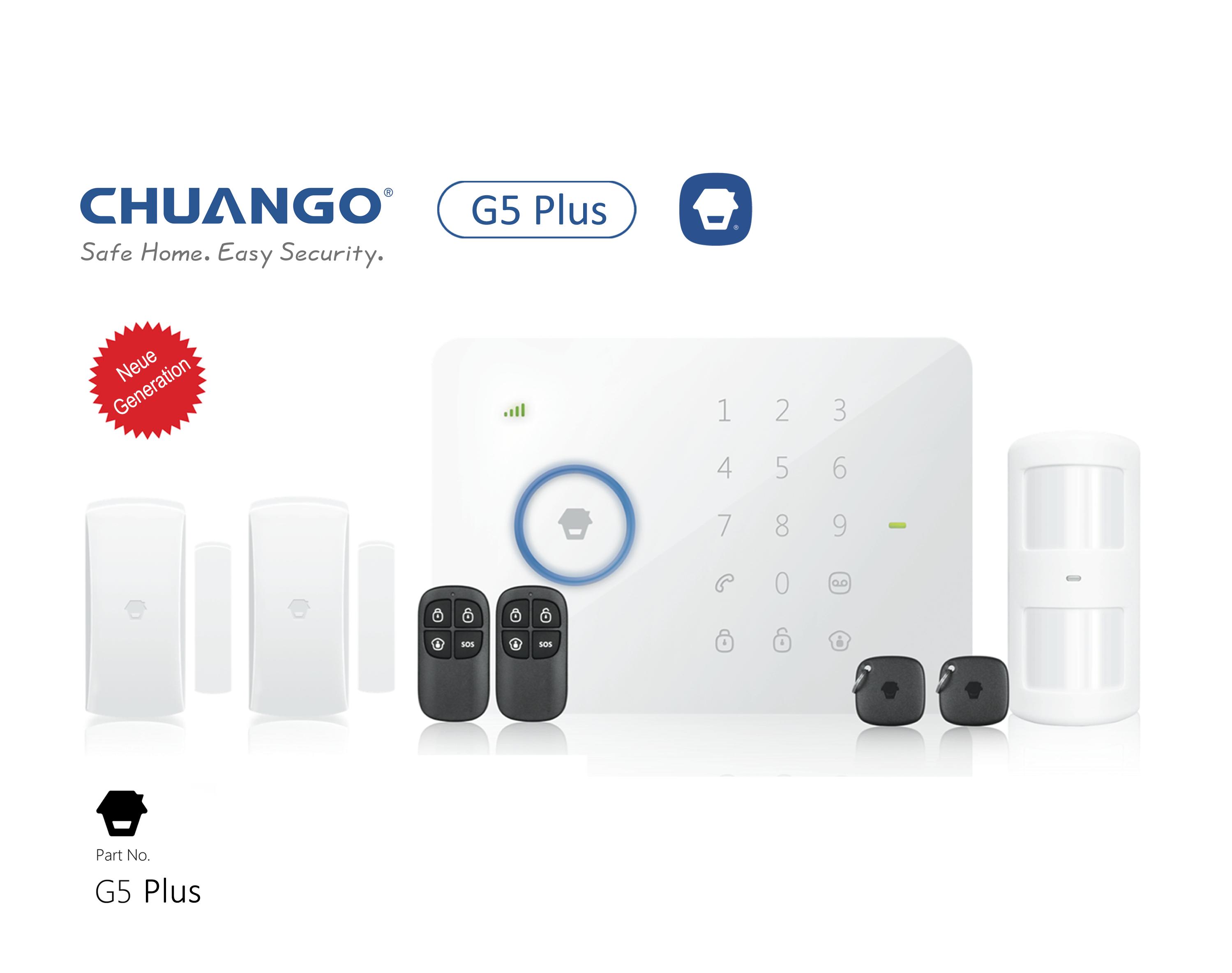Alarmanlage CHUANGO G5 PLUS GSM/SMS Touch Alarmanlage , Neue Generation, Basispaket