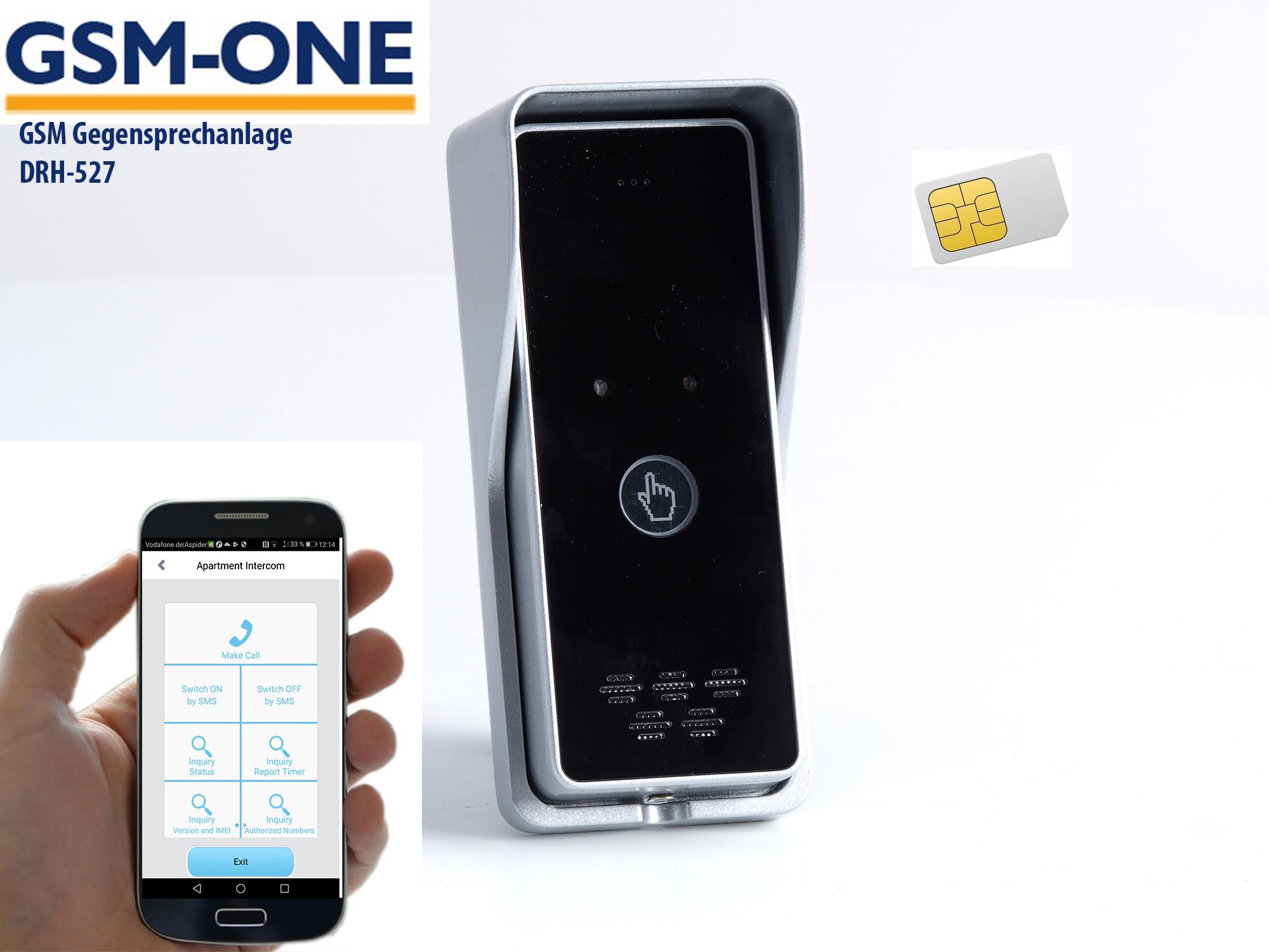 GSM Gegensprechanlage + Fern- Türöffner DRH-527 inkl. Smartphone App (Android u. IOS)